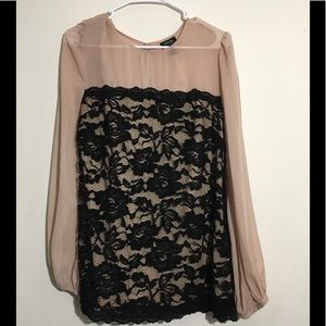 Sheer Nude Black Lace Flowy Blouse